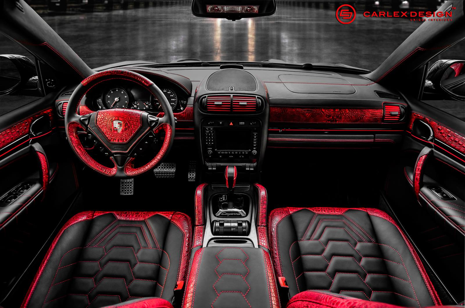 Porsche Cayenne Goes Reptilian with Red Crocodile Leather ...