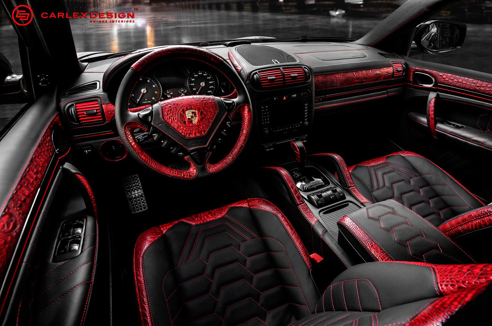 Porsche cayenne goes reptilian with red crocodile leather interior autoevolution