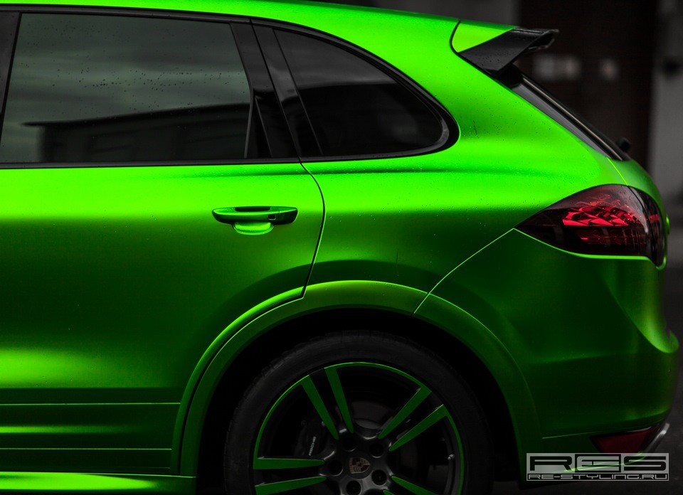 Porsche Cayenne Lime Green Satin Chrome Wrap Autoevolution