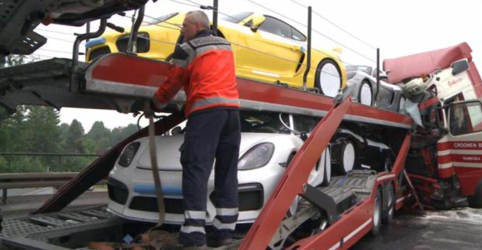 Porsche Cayman Gt4 Delivery Truck Rear Ended In Germany