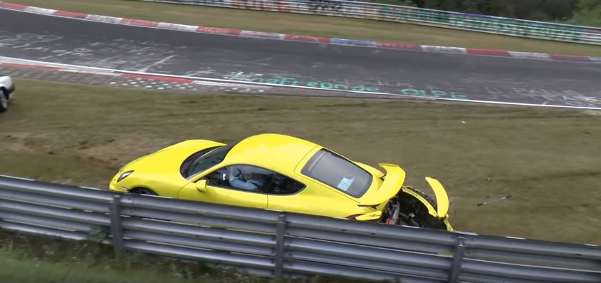 Porsche Cayman Gt4 Nurburgring Crash Is An Oil Spill