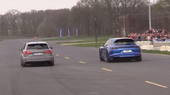 Porsche Panamera Turbo S E Hybrid Sport Turismo Drag Races Audi Rs3 Sportback