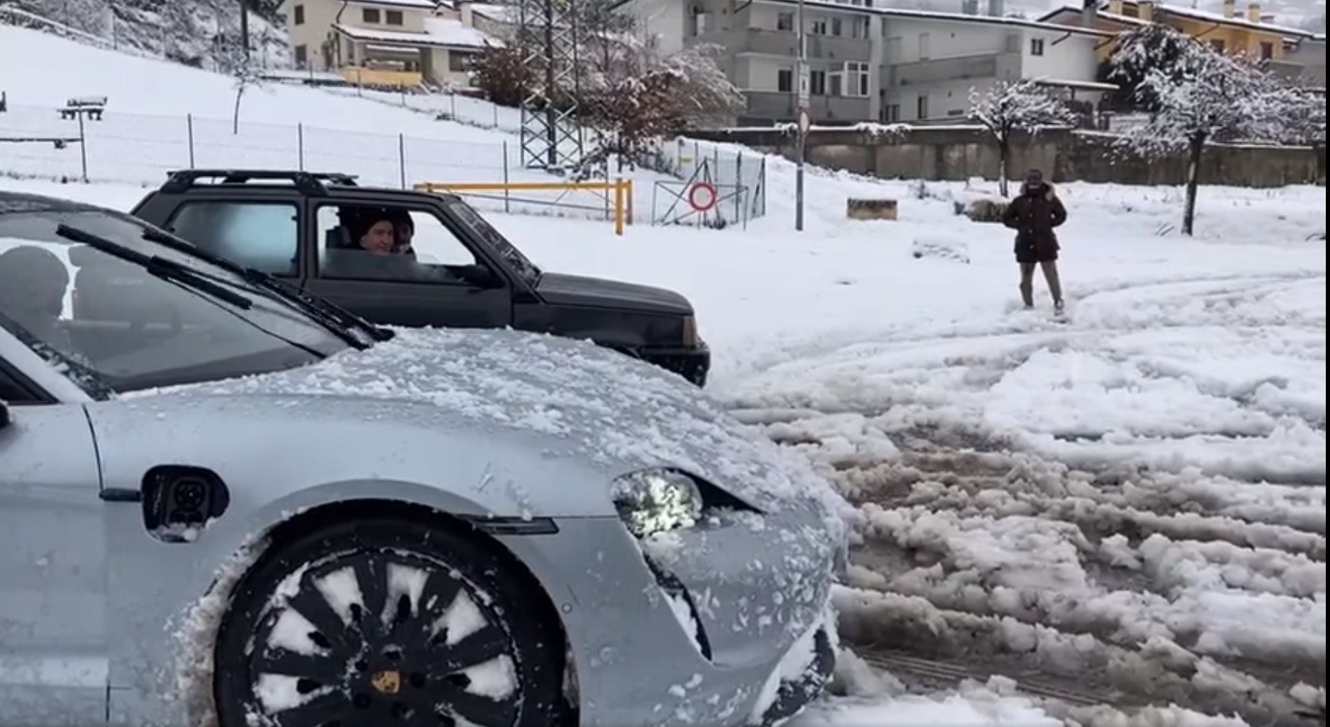 Porsche Taycan Drag Races Fiat Panda 4x4 In The Snow Is Not First Off The Line Autoevolution
