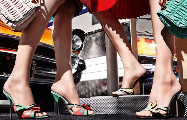 Prada Cadillac And Hot Rod High Heel Shoes
