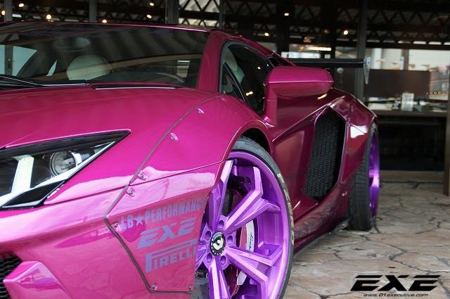 Purple Lamborghini Aventador With Liberty Walk Kit For The