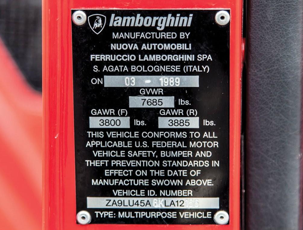 Номер кузова Lamborghini LM002 1989 года