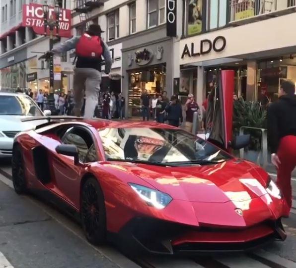 ... Guy Walks Over Lamborghini Aventador SV In San Francisco ...