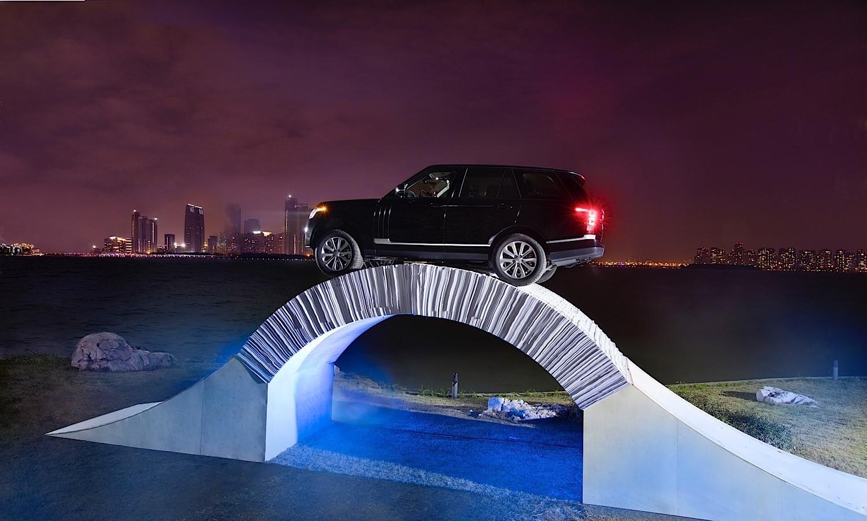 Range Rover Drives Over Origami Bridge To Celebrate 45th