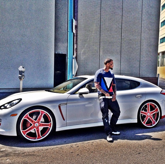 Rapper The Game Gives His Porsche Panamera Matte Gold Wrap