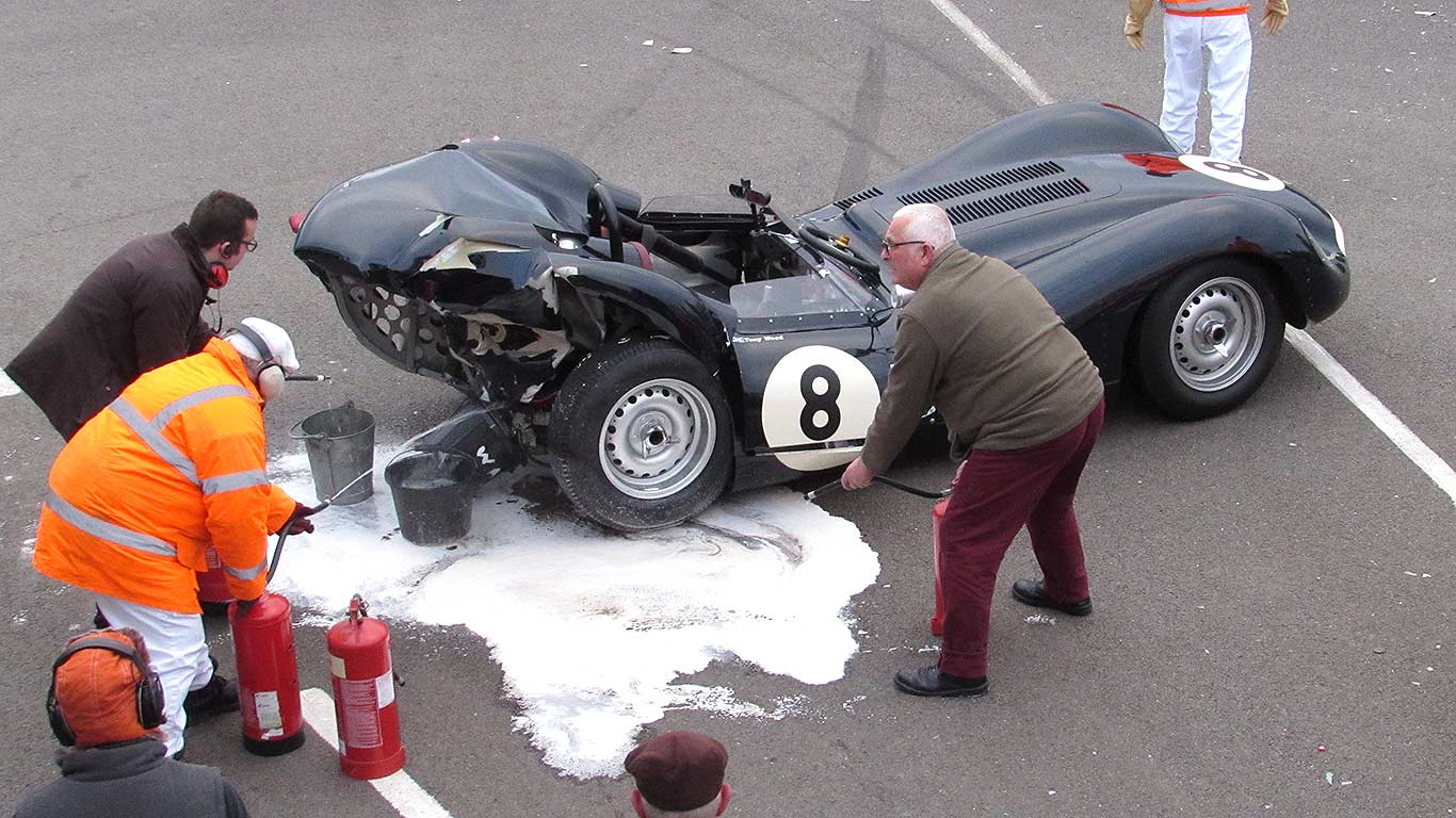 Rare lister jaguar and mercedes 300 sls poster crash at goodwood 73mm autoevolution