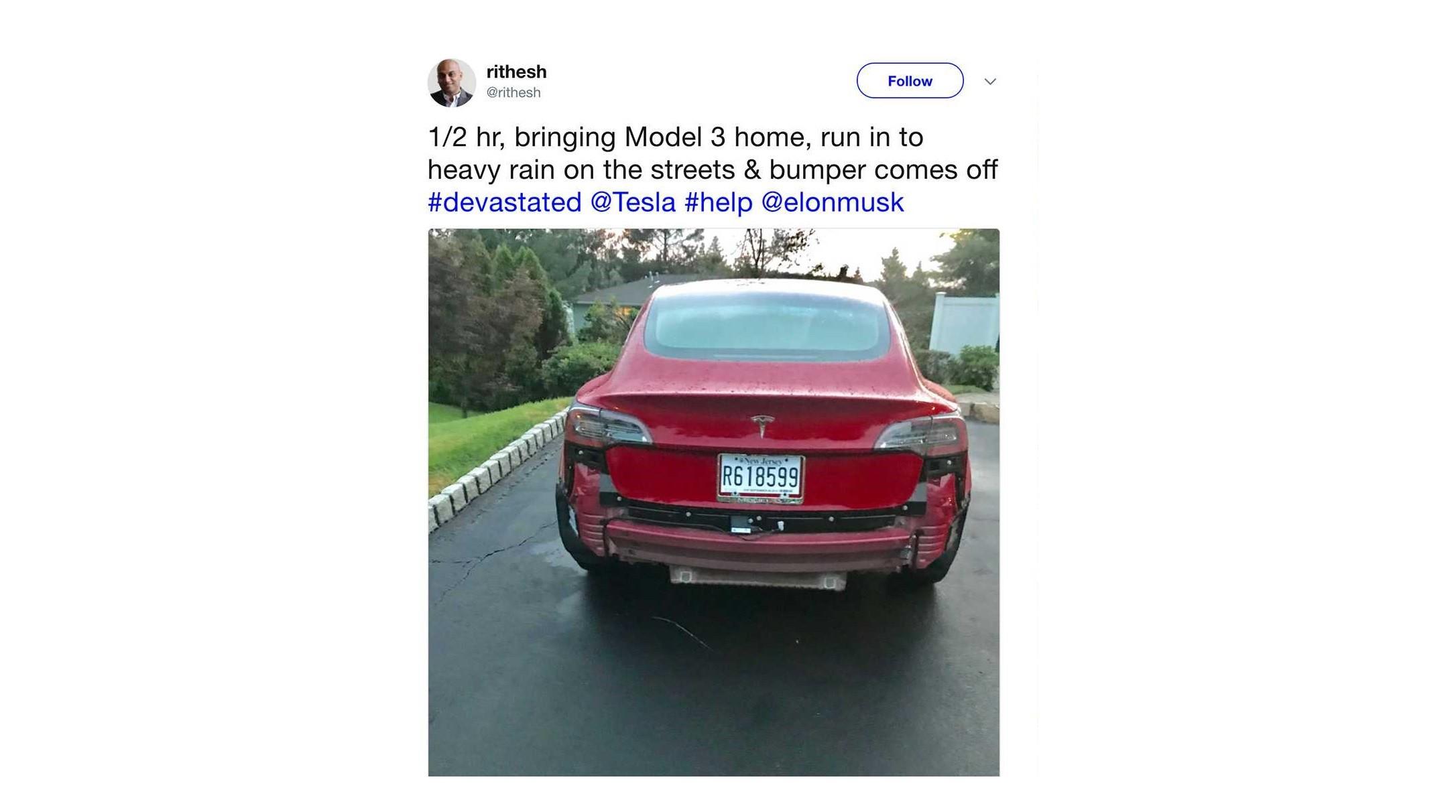 Rear Bumper Flies Off Brand-New Model 3, Tesla Initially ...