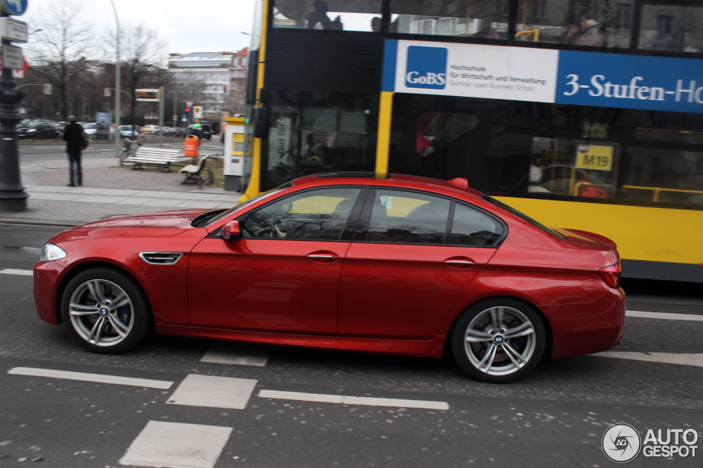 Red Bmw F10 M5 Spotted In Berlin Autoevolution