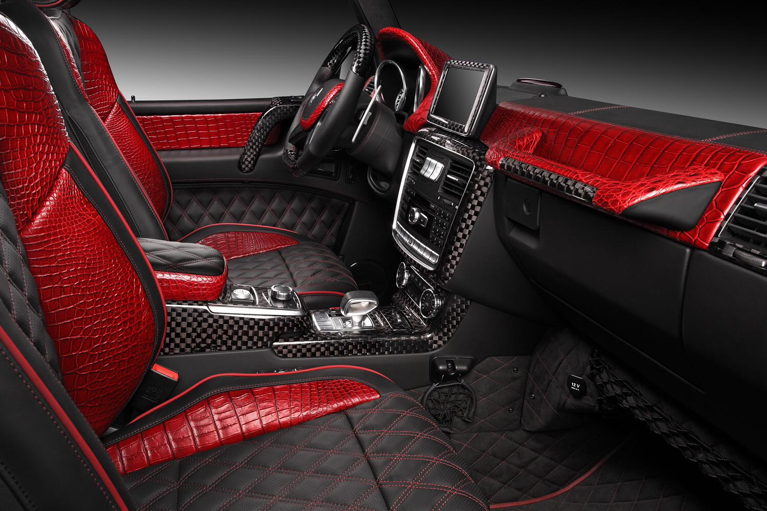 red crocodile leather and carbon fiber combine in g65 amg interior autoevolution. Black Bedroom Furniture Sets. Home Design Ideas