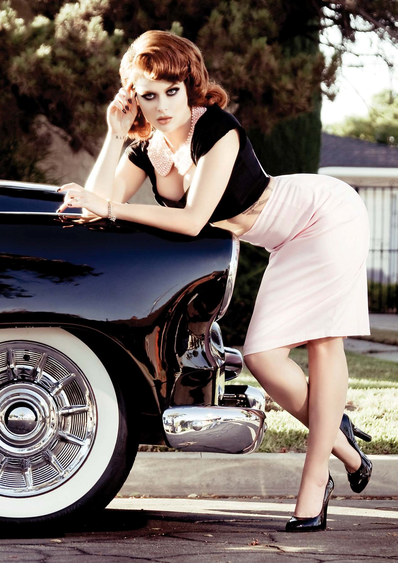 Renee Olstead Is Gangsta Hot Next To A Chevy Deluxe