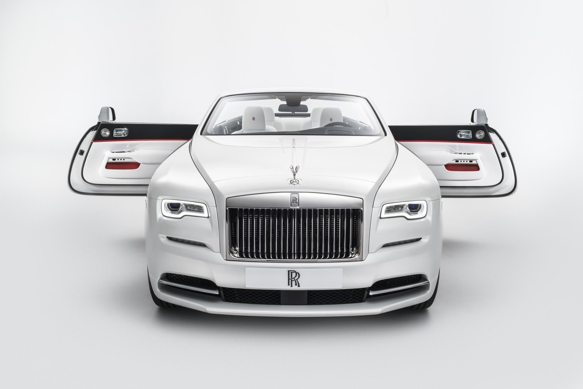 rolls royce presents dawn convertible with red blue and. Black Bedroom Furniture Sets. Home Design Ideas