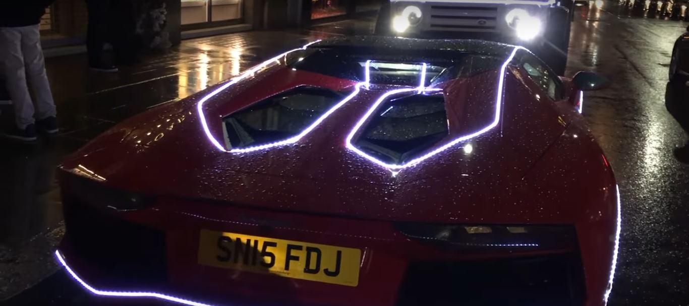 Rosso Mars Lamborghini Aventador Gets Covered In Led