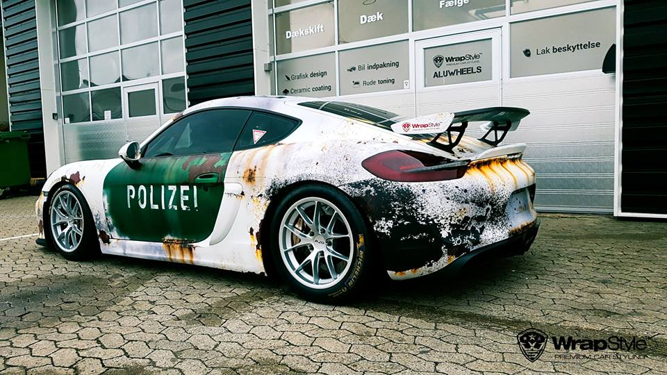 Rusty Polizei Wrap Porsche Cayman Gt4 Is How To Troll The