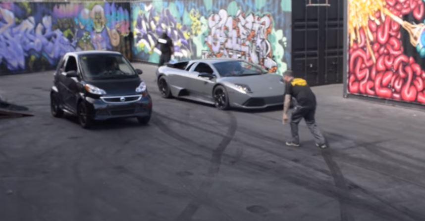 RWD Lamborghini Murcielago Drag Races Electric Smart Car ...