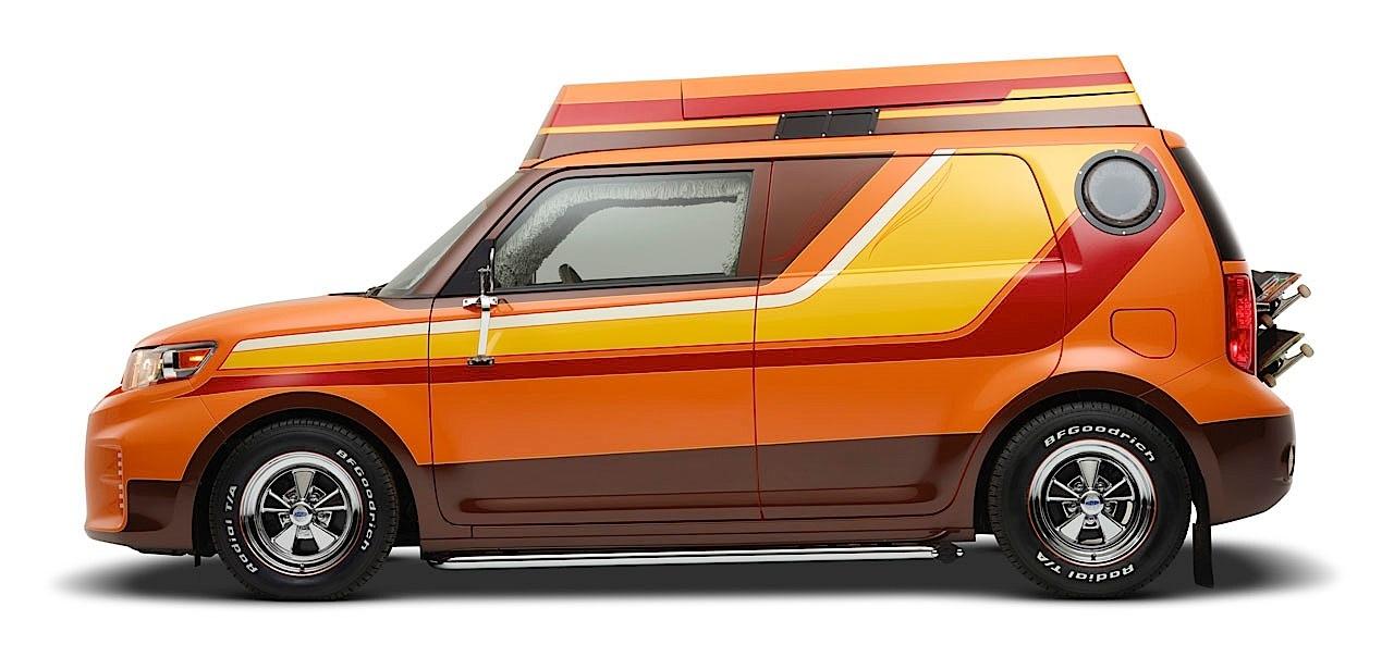 Scion fr s targa retro xb and slayer tc show up at sema autoevolution