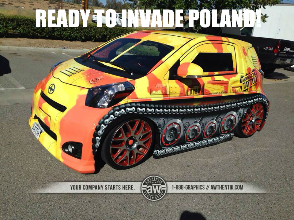 Scion Iq Gets Awesome Tank Wrap Looks Ready For Desert