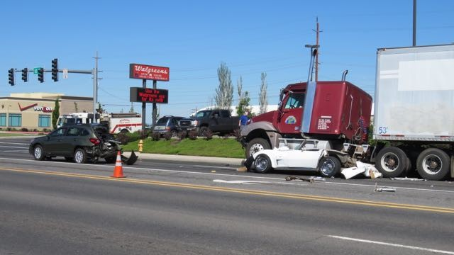 Semi Crushes Corvette And Rear Ends Suv In Oregon