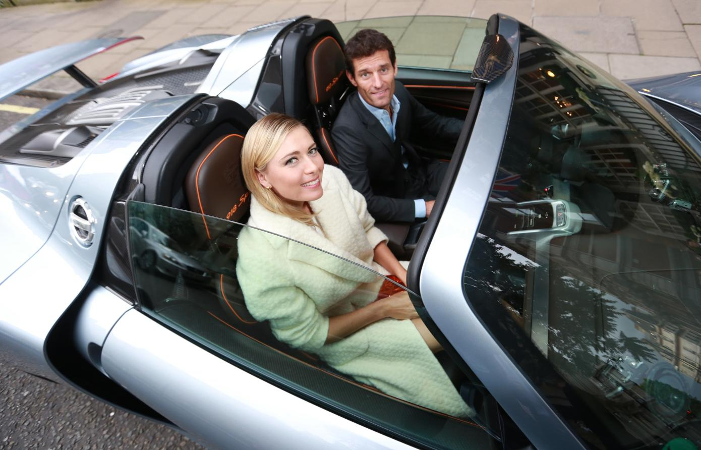 sharapova and mark webber and a porsche 918 spyder at pre. Black Bedroom Furniture Sets. Home Design Ideas