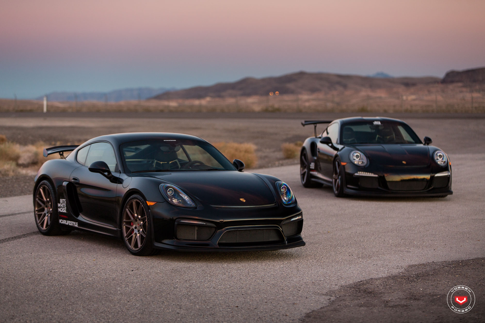 sith twins porsche 911 gt3 rs and cayman gt4 on vossen. Black Bedroom Furniture Sets. Home Design Ideas