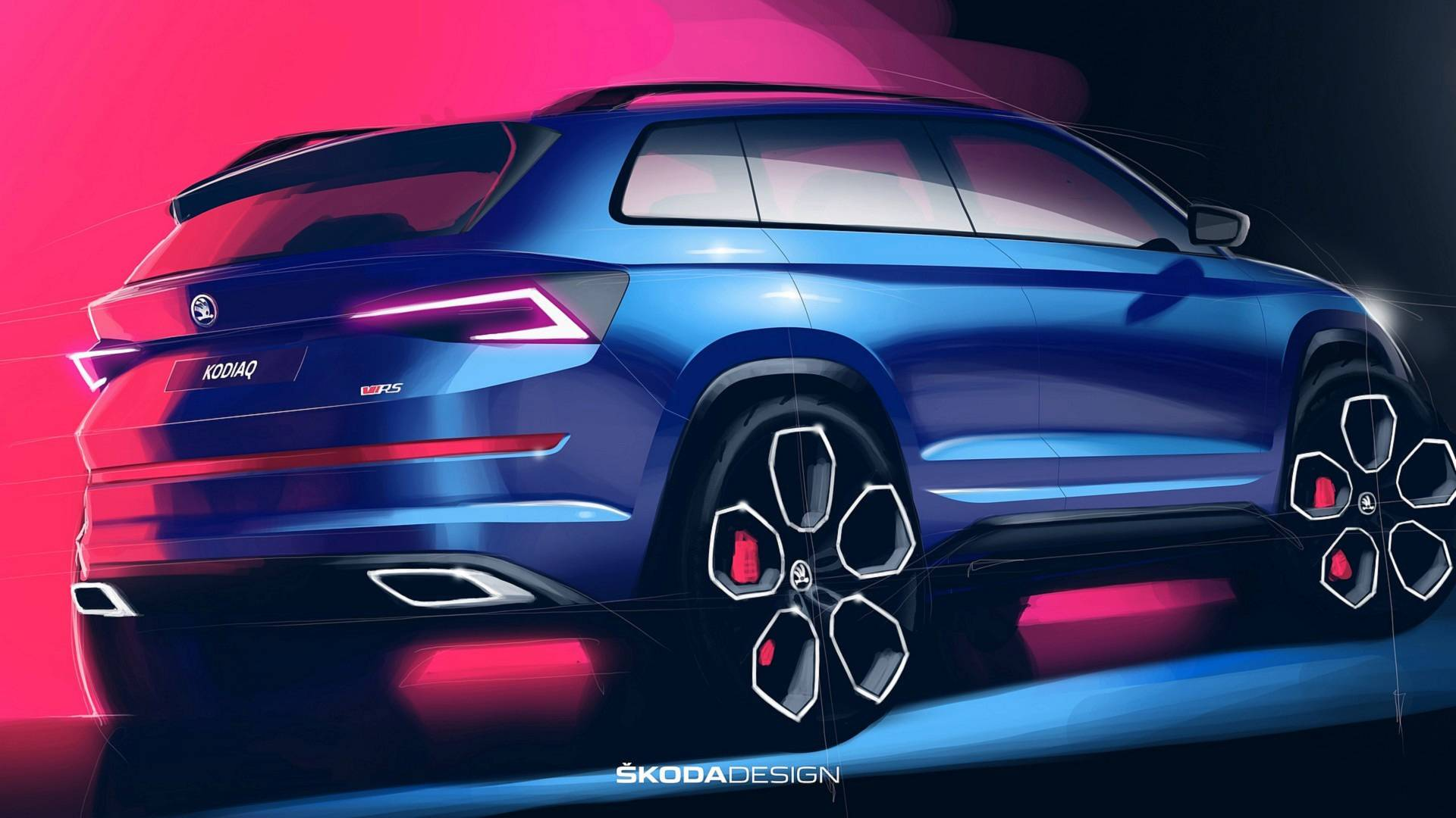 skoda kodiaq rs official sketches revealed autoevolution. Black Bedroom Furniture Sets. Home Design Ideas