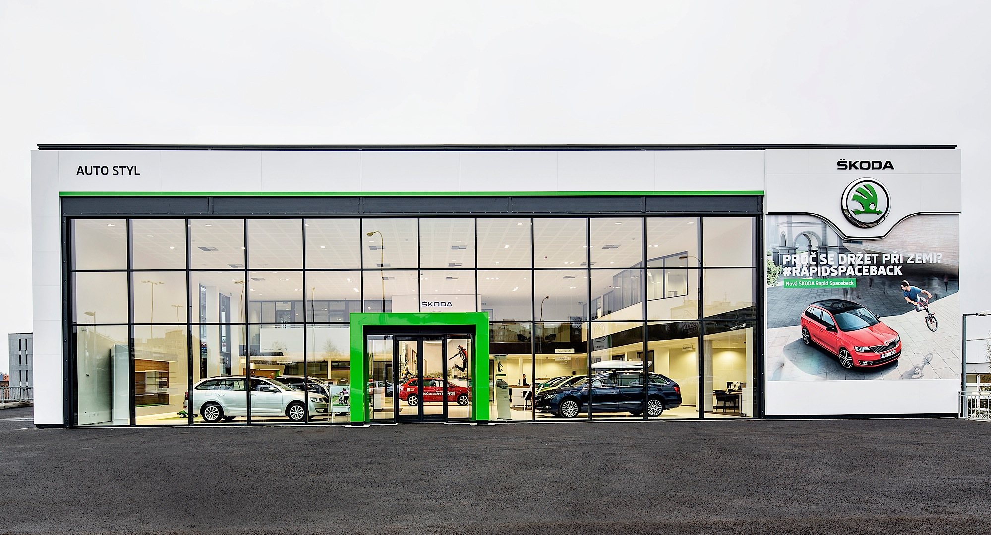 Front Elevation Of Furniture Showroom : Skoda reveals new dealer showroom design autoevolution