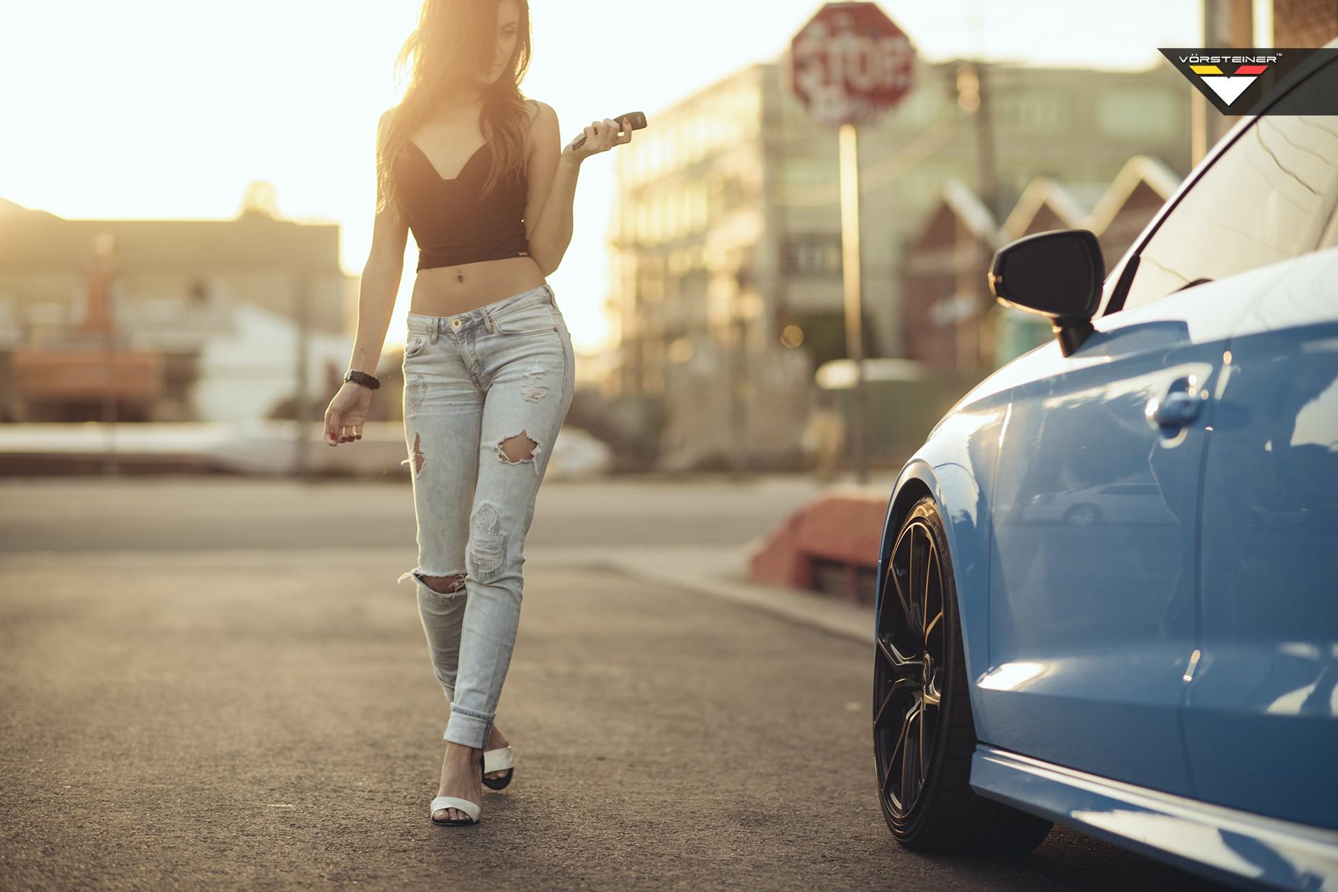 Sky Blue Audi S3 Sedan On Vorsteiner V Ff 103 Wheels In Car Girl Shoot Autoevolution