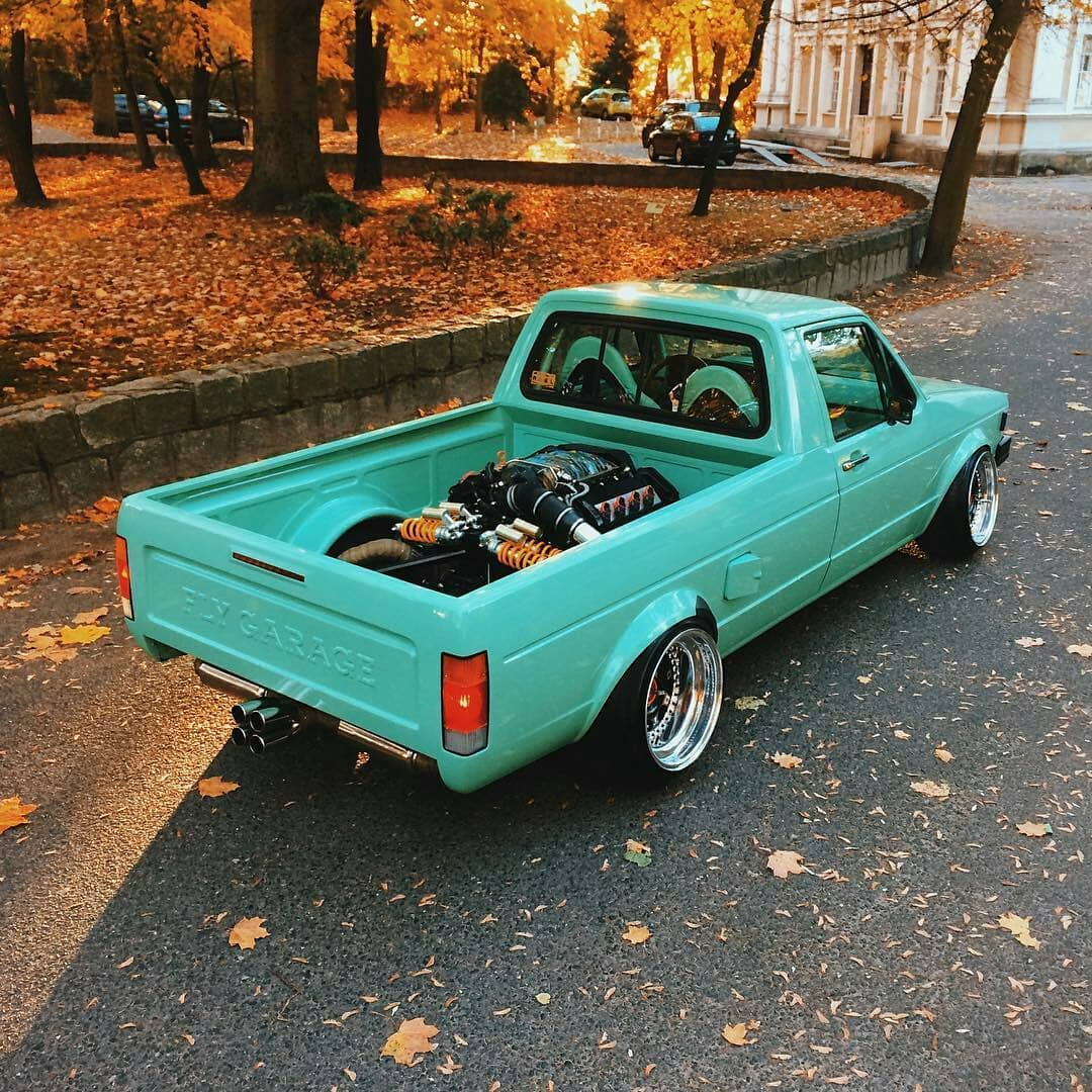 Slammed Vw Caddy Has Mid Mounted Audi 4 2l V8 Looks Minty Autoevolution