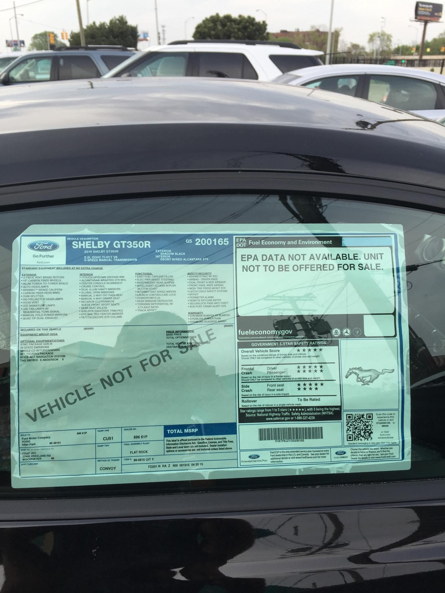 Sneak Peek 2016 Shelby Gt350r Mustang Window Sticker