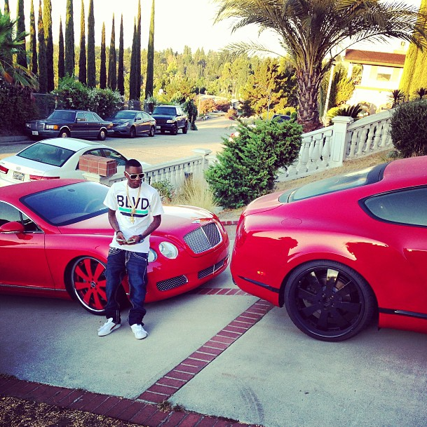 Soulja Boy Going Though A Red Bentley Phase on New 2012 Bentley Continental Gt