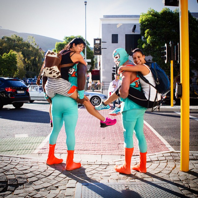 South African Brand Used Wrestlers As Piggyback Taxis To