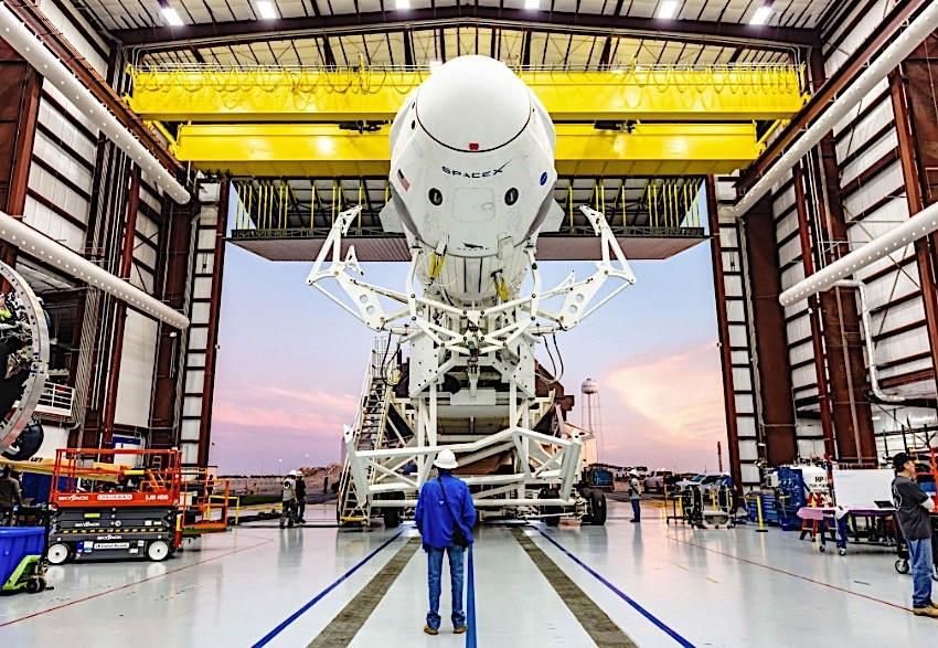 SpaceX's Crew Dragon capsule perched on pad ahead of first orbital flight