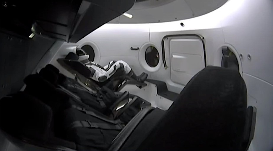 Ripley dummy astronaut in the Crew Dragon during descent