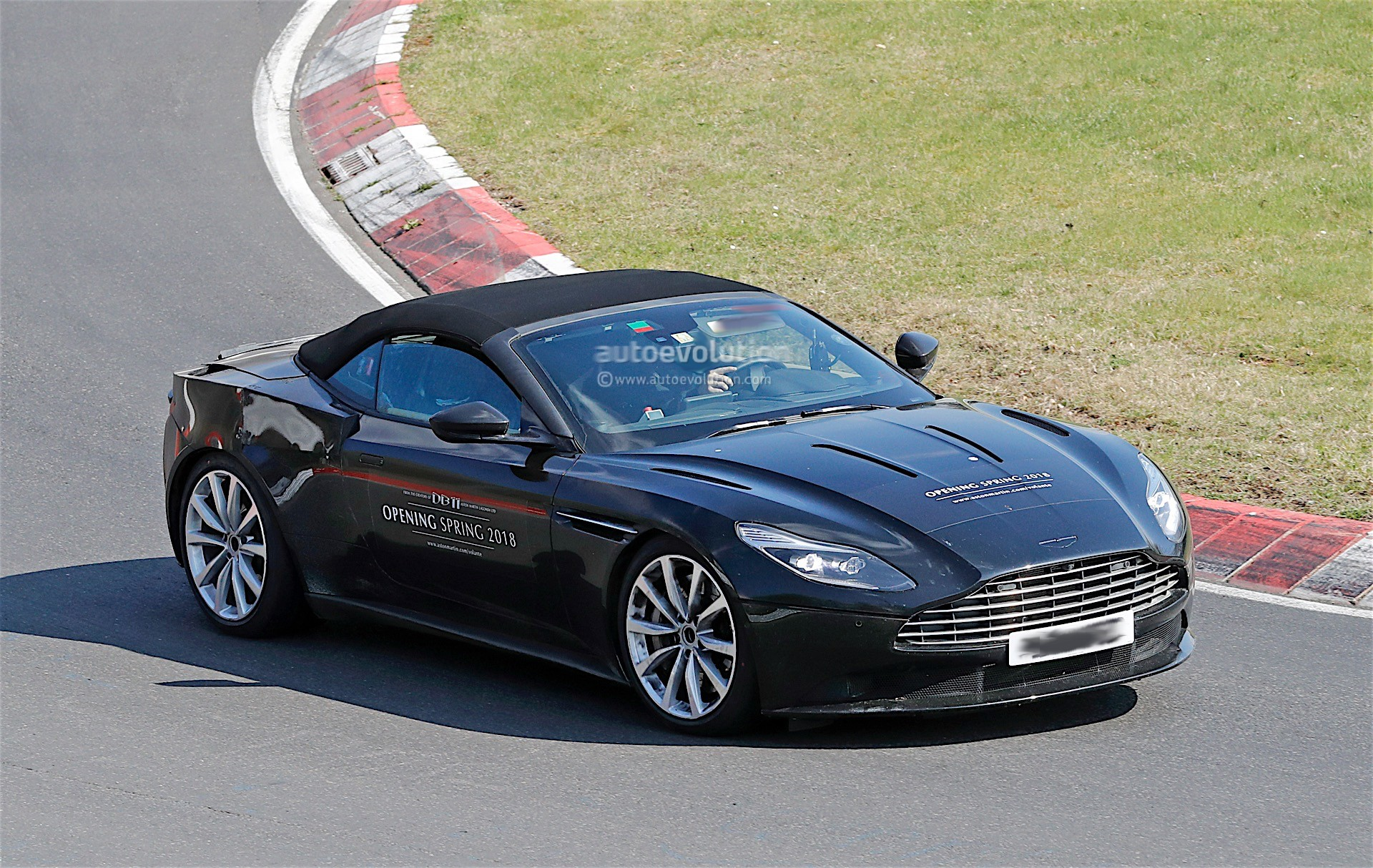 aston martin uses db11 volante prototype as billboard with wheels on the 39 ring autoevolution. Black Bedroom Furniture Sets. Home Design Ideas