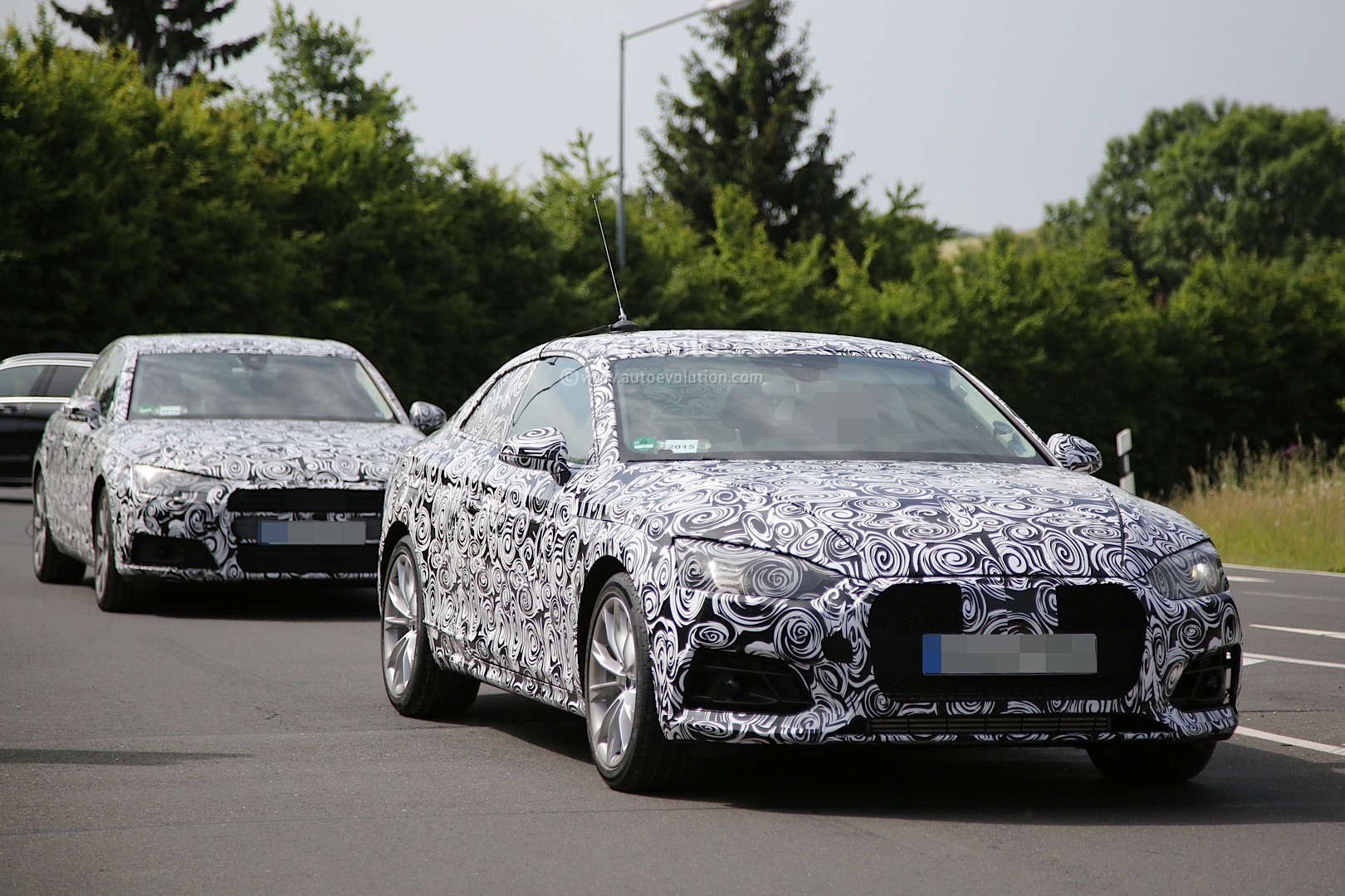 spyshots 2017 audi a5 coupe begins nurburgring testing. Black Bedroom Furniture Sets. Home Design Ideas