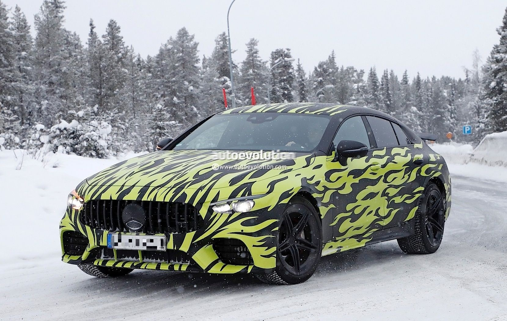Four-Door Mercedes-AMG GT Shows Off Green Flames