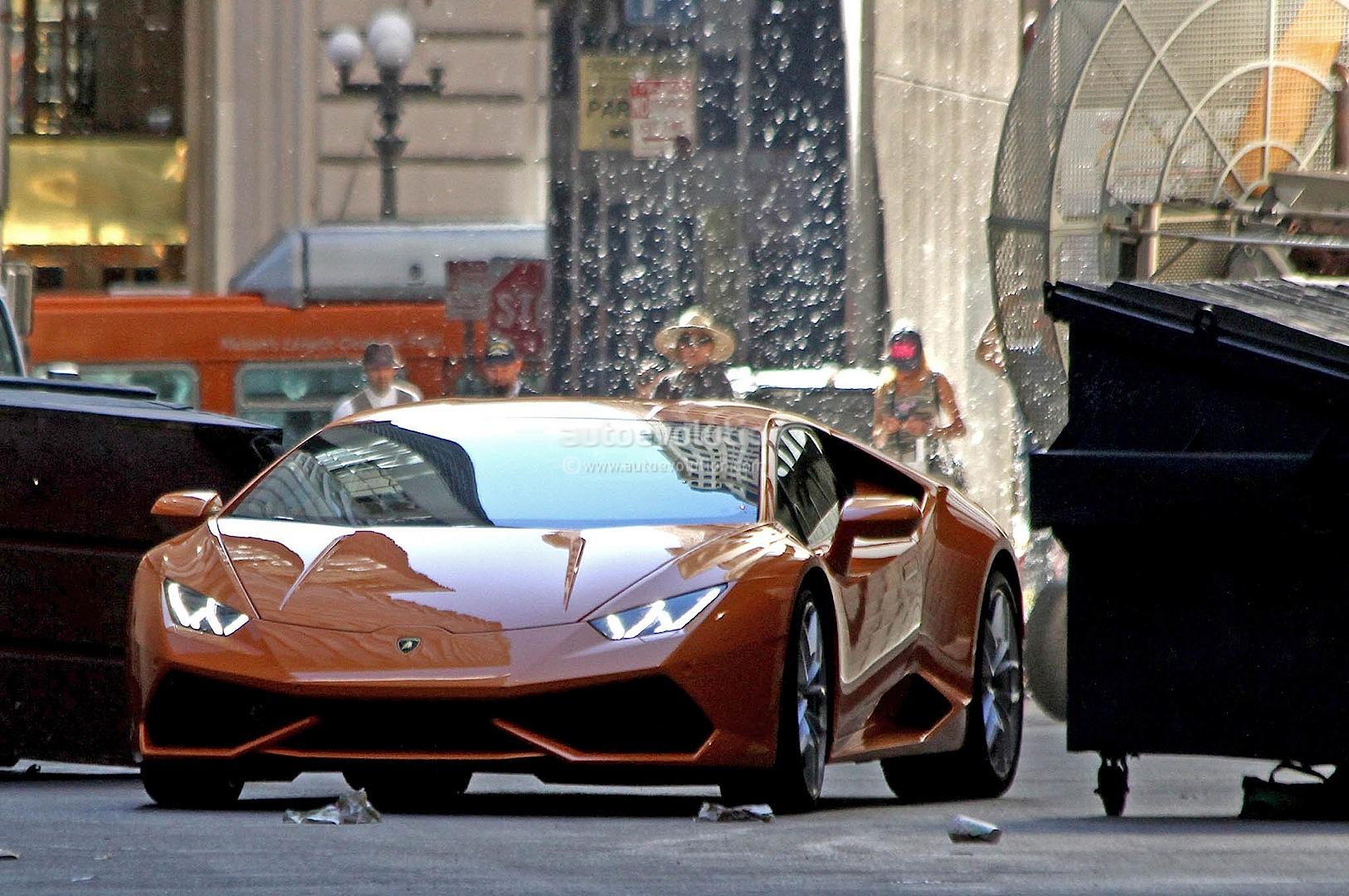 spyshots orange lamborghini huracan street racing in the us autoevolution. Black Bedroom Furniture Sets. Home Design Ideas