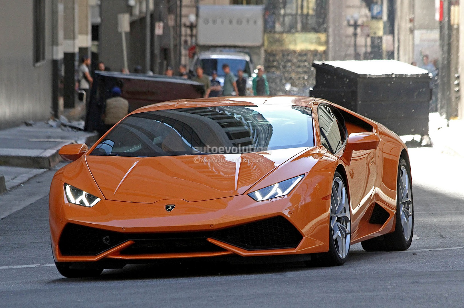 Spyshots Orange Lamborghini Huracan Street Racing In The
