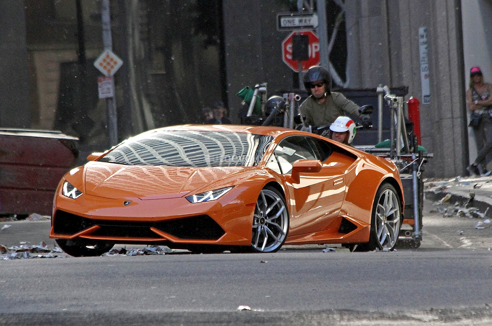Spyshots Orange Lamborghini Huracan Street Racing In The