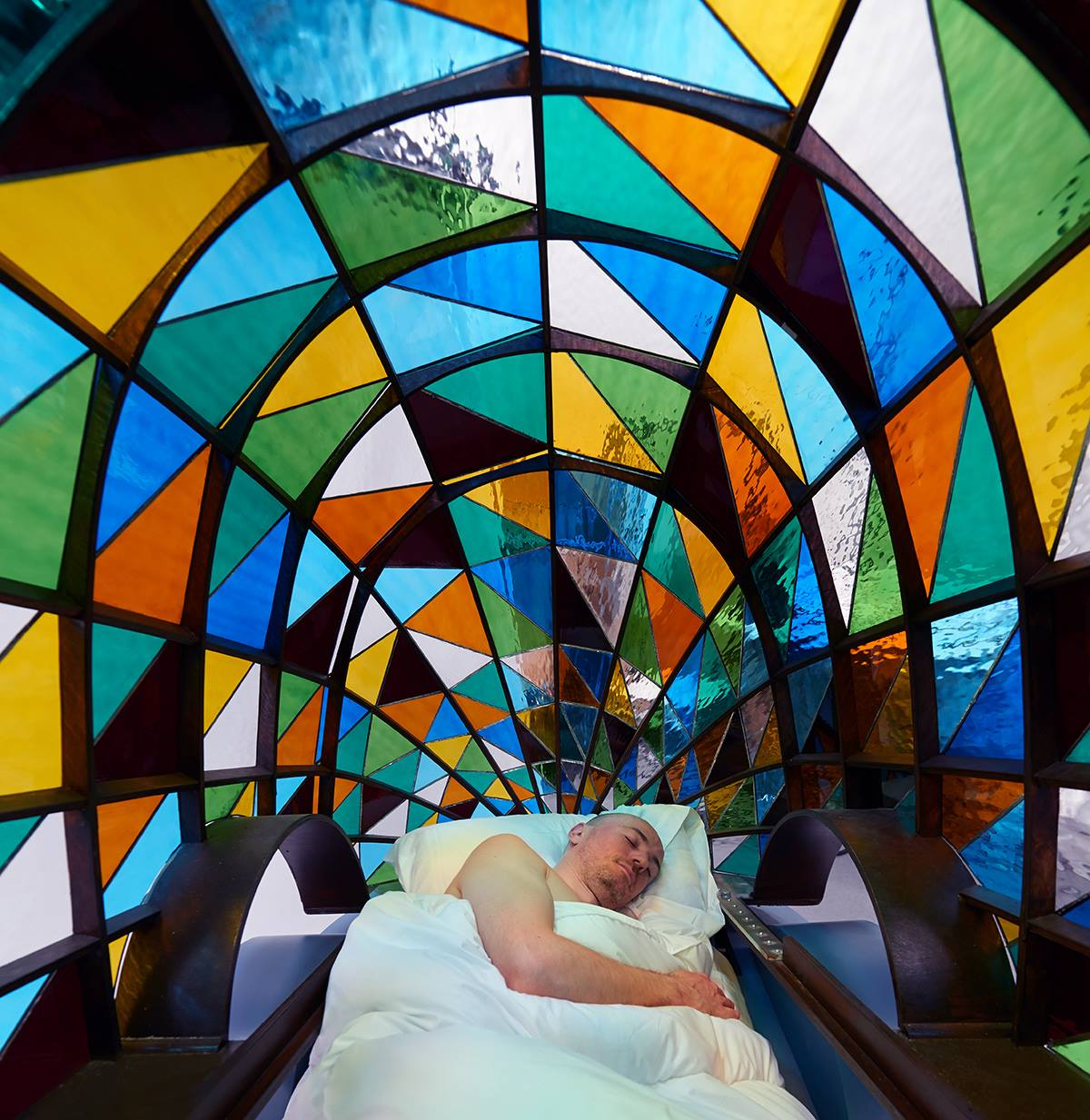 Stained Glass Driverless Sleeper Car Falling Asleep At