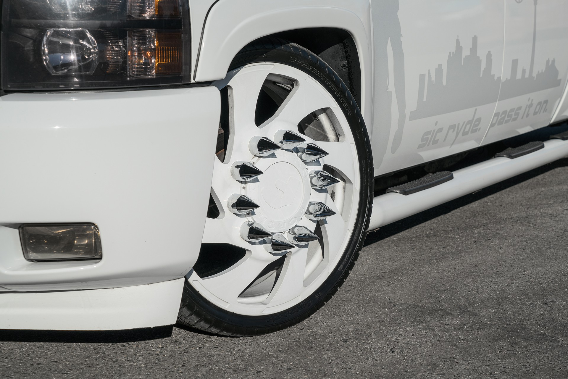 Stanced 6-Wheel Chevy Silverado Rides on Forgiato Dually ...