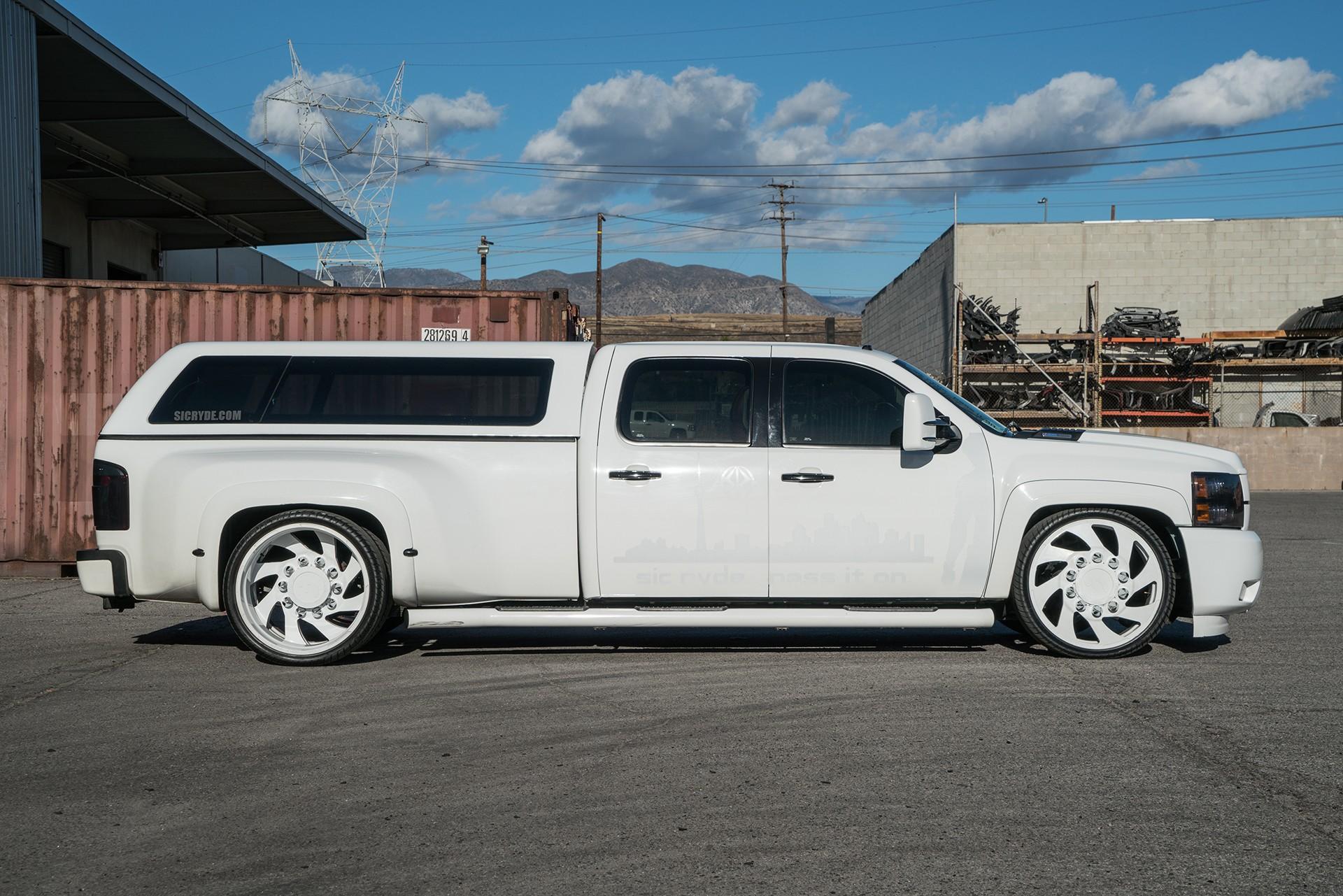 Stanced 6Wheel Chevy Silverado Rides on Forgiato Dually Wheels
