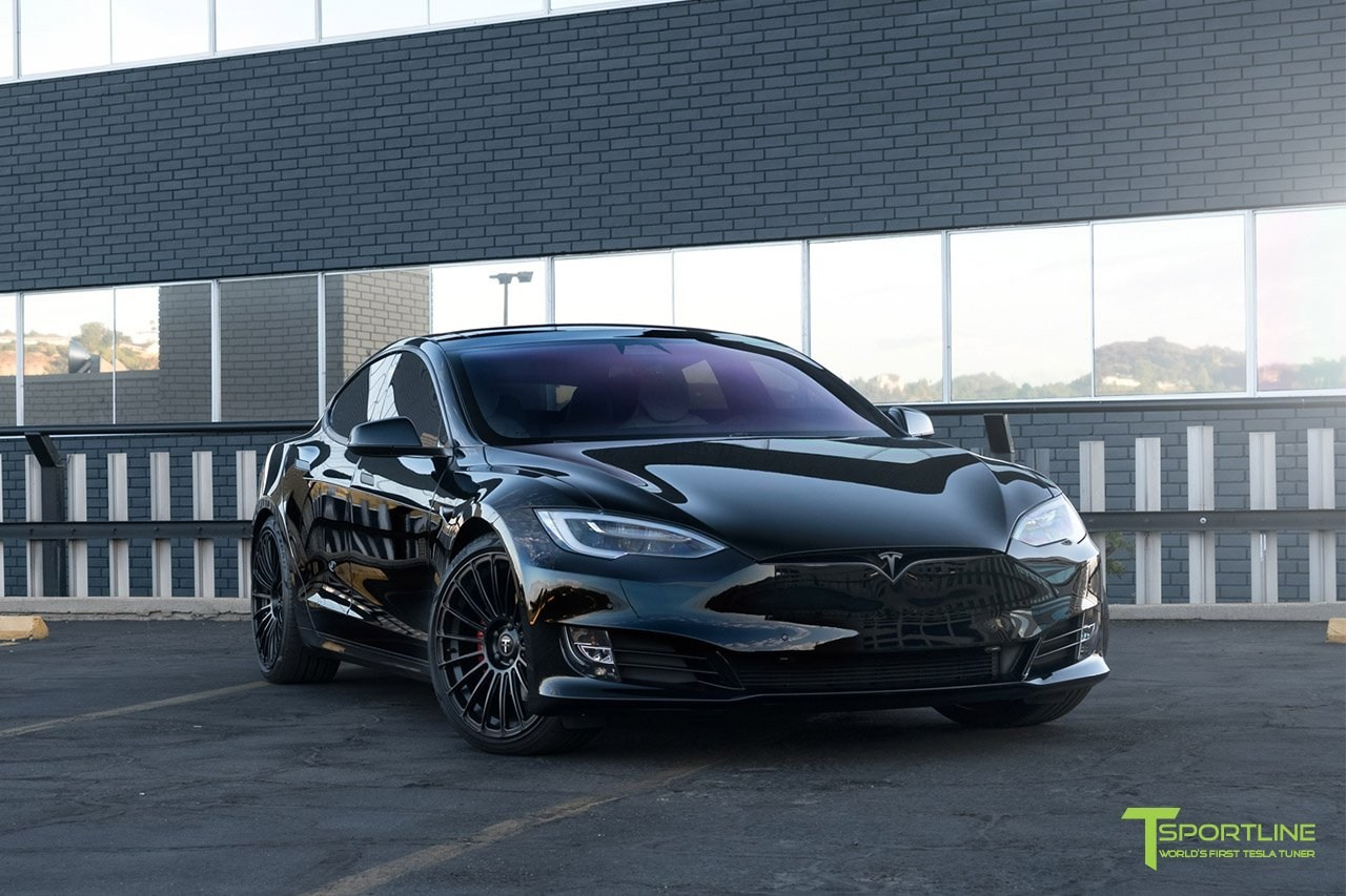 t sportline tesla model s p100d is a black stealthy assassin autoevolution. Black Bedroom Furniture Sets. Home Design Ideas