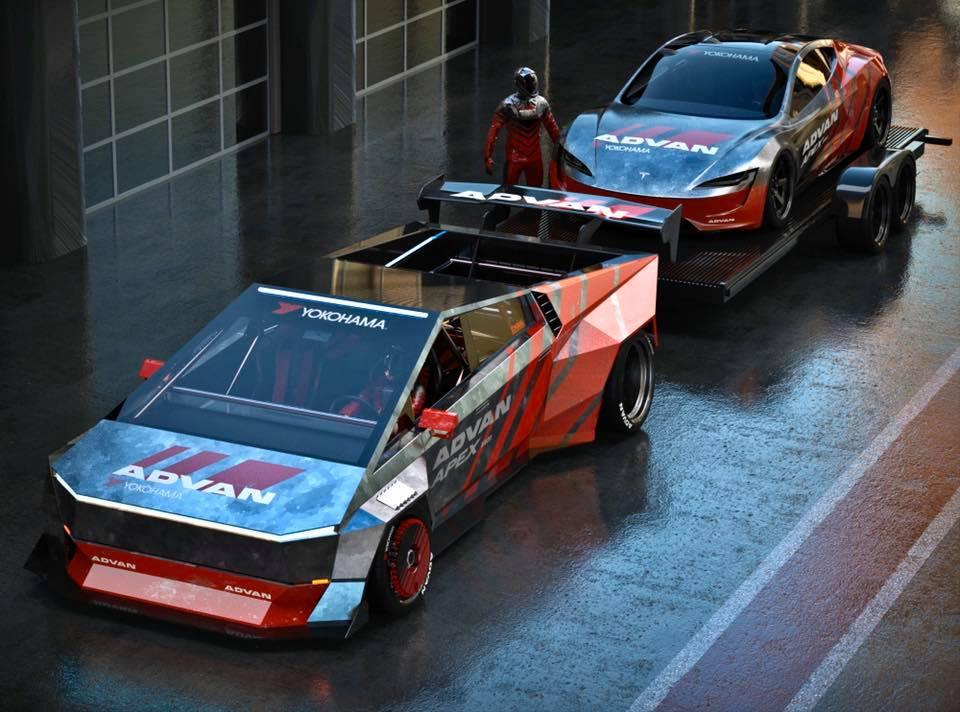 Tesla Cybertruck Towing a Tesla Roadster Looks Like a ...