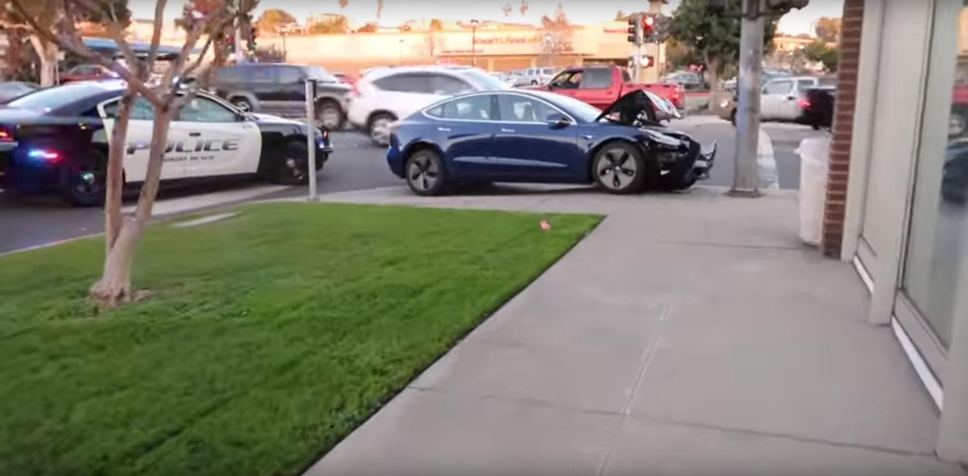 Tesla Model 3 Pole Crash