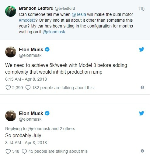 Tesla Model 3 Dual Motor announcement