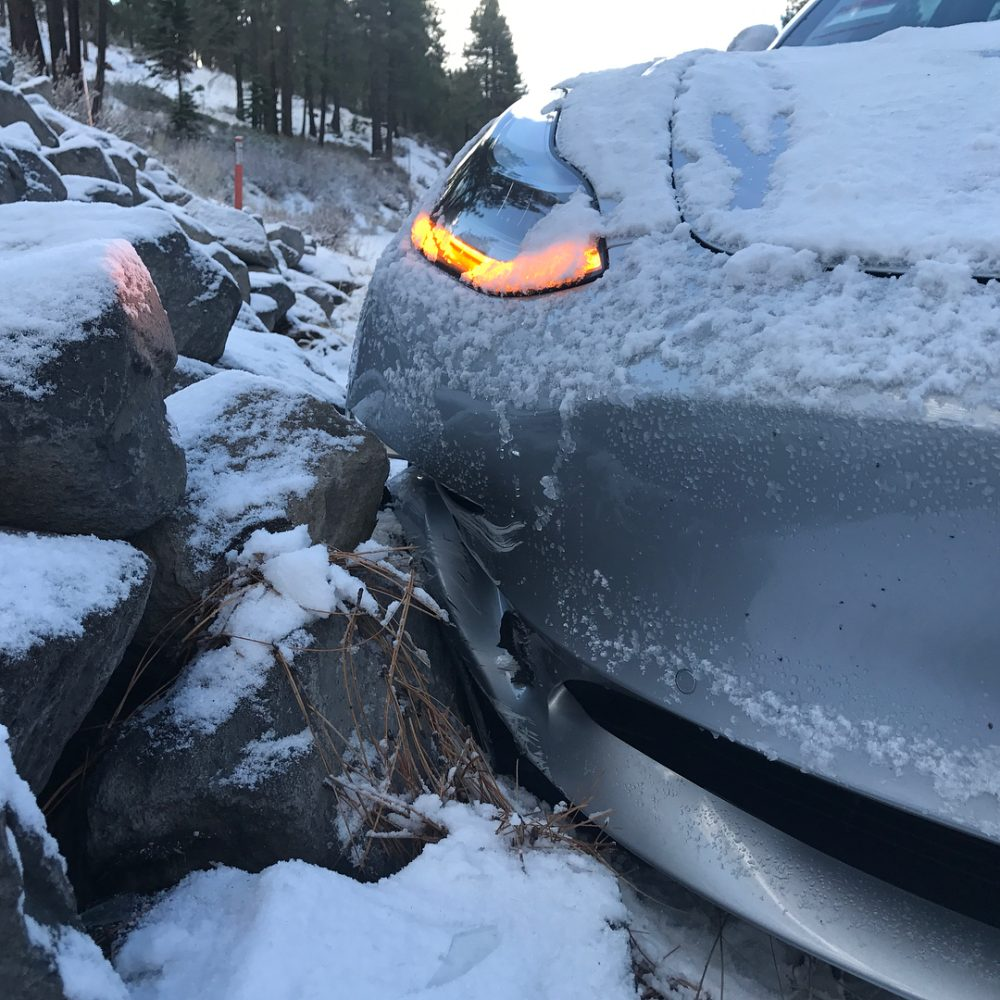tesla model 3 loses snow fight another hits deer at 45 mph in first